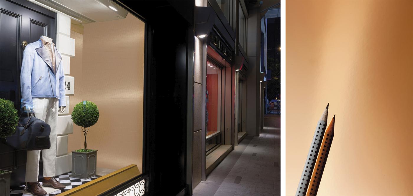 Bild skyltfönster med metall dekor laminat